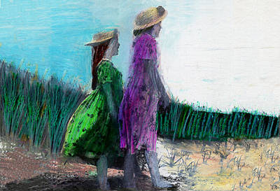 Beach Landscape Drawing - Sisters At The Beach 2 by Lydia L Kramer