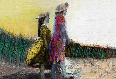 Beach Landscape Drawing - Sisters At The Beach by Lydia L Kramer