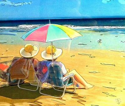 Beach Landscape Drawing - Sisters At The Beach by Russell Reeves
