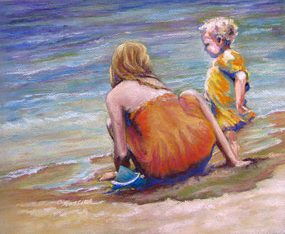 Pastel - Sisters Enjoy The Shore by Carole Haslock