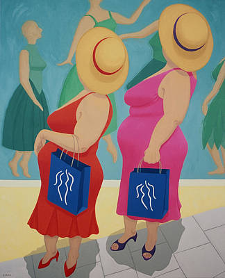 Store Window Display Painting - Sisters Go Shopping by Diana Kordas