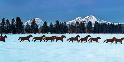 Animals Photos - Sisters Horses and Mountains by Twenty Two North Photography