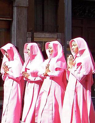 Sisters In Pink Art Print