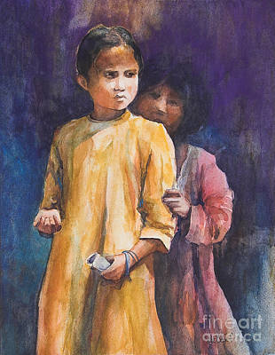Indian Children Painting - Sisters by Kate Bedell