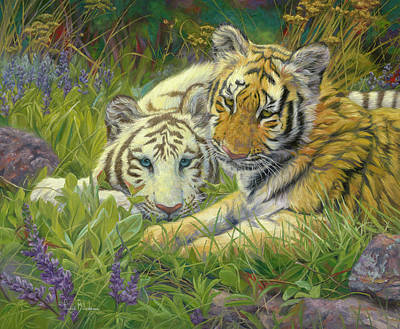 Tiger Wall Art - Painting - Sisters by Lucie Bilodeau