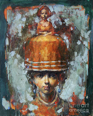 Red School House Painting - Sisters by Michal Kwarciak