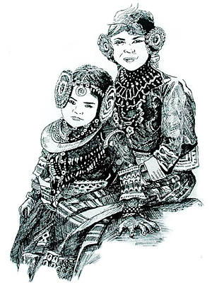 Joyful Drawing - Sisters by Ramneek Narang