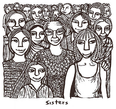 Feminist Mixed Media - Sisters by Ricardo Levins Morales