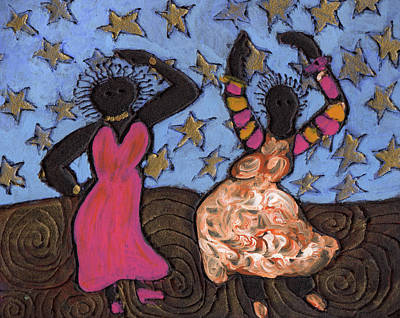 African American. Folk Art Painting - Sisters Sarah Sue And Sally Mae Swinging The Night Away by Wayne Potrafka