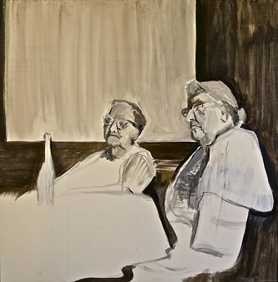 Monochromatic Study Painting - Sisters -the Argument by Bonnie See