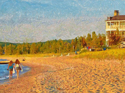 Digital Art - Sisters Walking Home On The Beach by Digital Photographic Arts