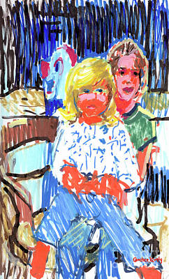 Painting - Sisters With Bozo by Candace Lovely