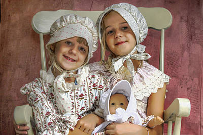 Smiling Mixed Media - Sisters With Doll by Randy Steele