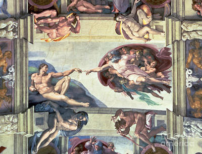 Frescoes Painting - Sistine Chapel Ceiling Creation Of Adam by Michelangelo