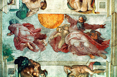 The Sun Painting - Sistine Chapel Ceiling Creation Of The Sun And Moon by Michelangelo