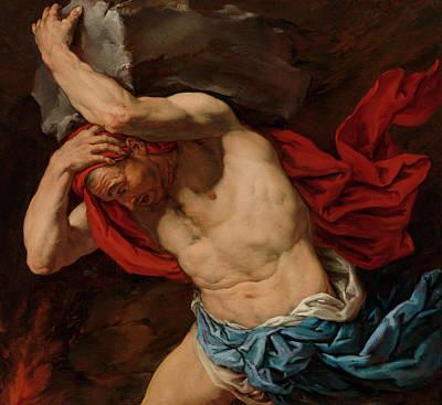 Aegina Painting - Sisyphus by Antonio Zanchi