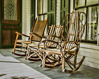 Rocking Chairs Photograph - Sit A Spell by Stephen Stookey