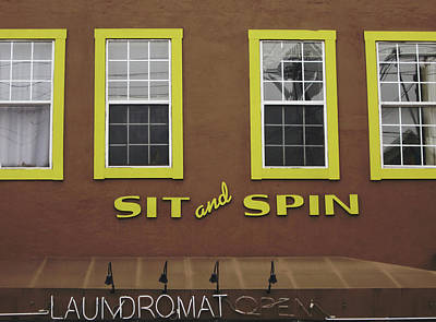 Laundry Mixed Media - Sit And Spin Laundromat Color- By Linda Woods by Linda Woods