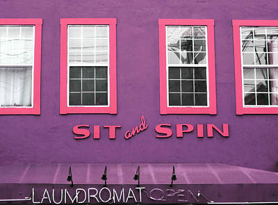Signed Mixed Media - Sit And Spin Laundromat Purple- By Linda Woods by Linda Woods
