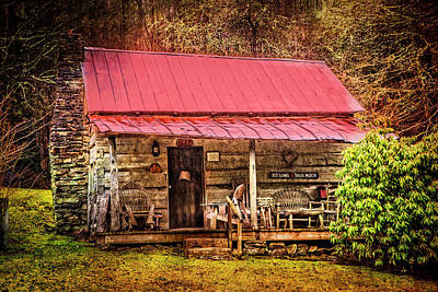 Little Cabin Photograph - Sit Long Talk Much by Debra and Dave Vanderlaan