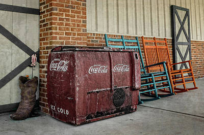 Photograph - Sit, Rock And Enjoy A Cold Soda  -  Rockingchaircokecooler134931 by Frank J Benz