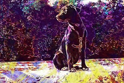 Labrador Digital Art - Sit Stone Dog Labrador  by PixBreak Art
