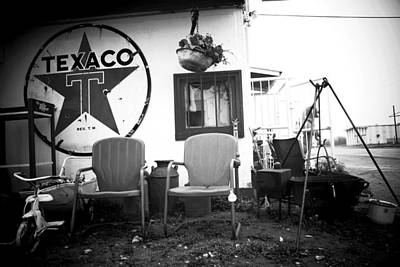 Sitting At The Texaco Black And White Art Print
