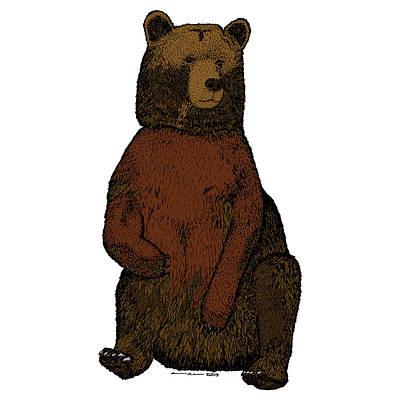 Sitting Bear - Full Color Art Print by Karl Addison
