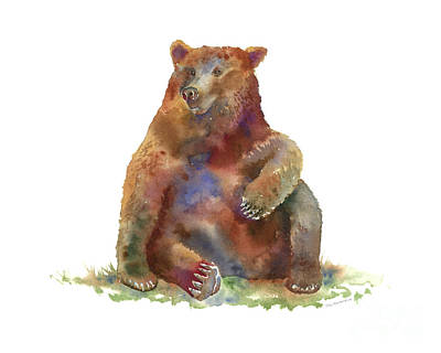 Brown Bear Painting - Sitting Bear by Amy Kirkpatrick