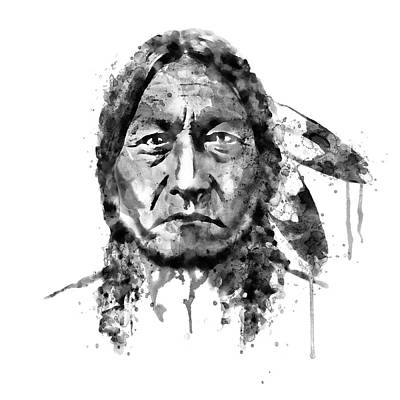 Indian Mixed Media - Sitting Bull Black And White by Marian Voicu