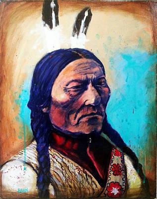 Native American Spirit Portrait Painting - Sitting Bull by Chris Bahn