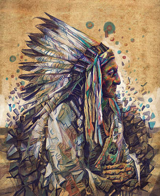 Painting - Sitting Bull Decorative Portrait 2 by Bekim Art