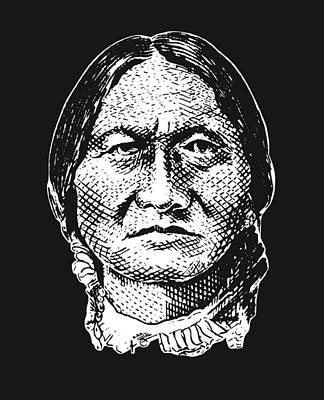 Digital Art - Sitting Bull Graphic - Black And White by War Is Hell Store