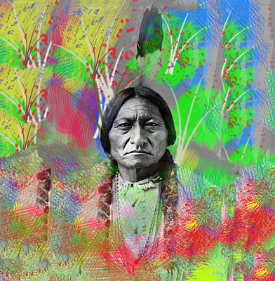 Sitting Bull In Abstract Art Print by Bill Cannon