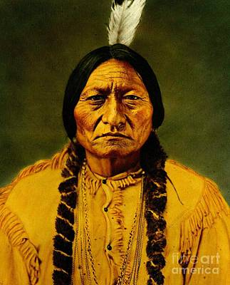 Photograph - Sitting Bull Late 19th Century Hand Colored Photograph by Peter Gumaer Ogden Collection