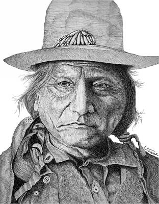 Old West Drawing - Sitting Bull by Lawrence Tripoli
