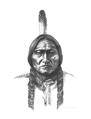 Teton Drawing - Sitting Bull by Lee Updike