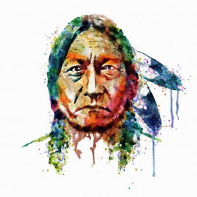 White Background Mixed Media - Sitting Bull Watercolor Painting by Marian Voicu