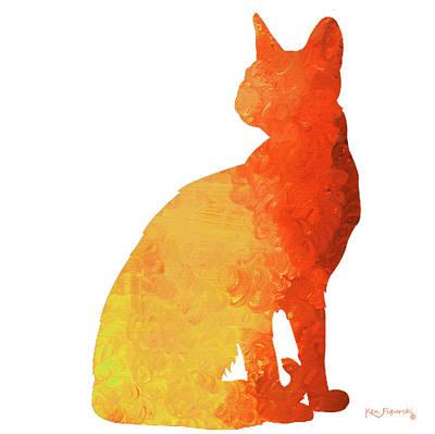 Lion Painting - Sitting Cat by Ken Figurski