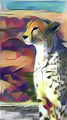 Sitting Cheetah  Art Print