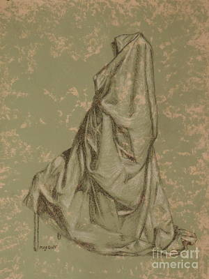 Painted Details Drawing - Sitting Drapery by Meg Goff