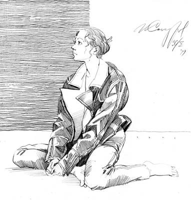 Drawing - Sitting Girl In The Leather Jacket by Igor Sakurov