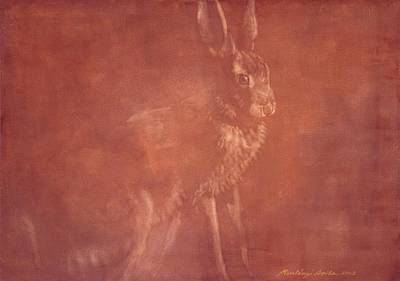 Painting - Sitting Hare by Attila Meszlenyi