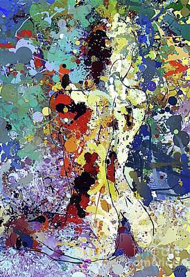 Painting - Sitting Nu Abstract by Dragica Micki Fortuna