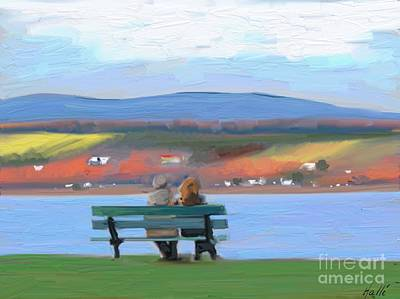 An Island Painting - Sitting On A Bench by Aline Halle-Gilbert