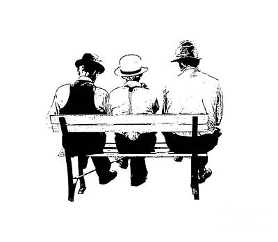 Park Benches Drawing - Sitting On A Park Bench by Edward Fielding