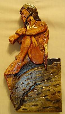 Intarsia Sculpture - Sitting On A Rock by Russell Ellingsworth