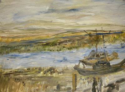 Alviso Painting - Sitting On The Dock Of The Bay by Edward Wolverton