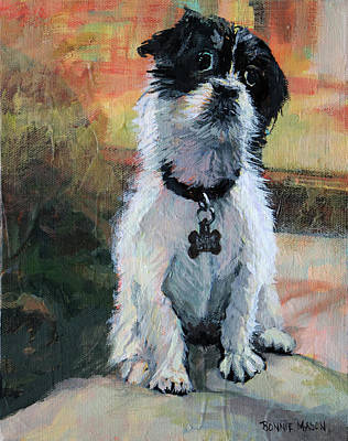 White Dog Painting - Sitting Pretty - Black And White Puppy by Bonnie Mason