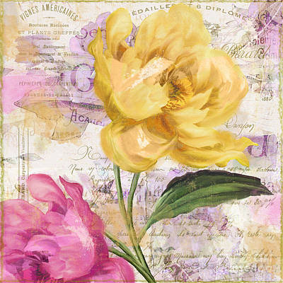 Pink And Yellow Painting - Sitting Pretty Peonies by Mindy Sommers